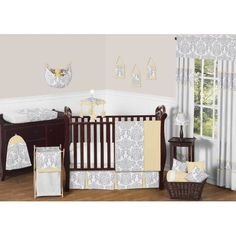 11pc Crib Bedding Set for the Yellow and Gray Avery Collection by Sweet Jojo Designs