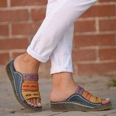 FloryDay / Sem salto Sem salto Anabela Oca-out Mulheres - Shoes - Chunky Heel Pumps, Low Heel Sandals, Low Heels, Wedge Heels, Pumps Heels, Chiffon Floral, Flat Wedges, Peep Toe, Womens Flats