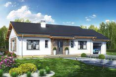 Wizualizacja DL Terrier 4 z garażem CE Bungalow Porch, House Front Porch, Wooden Pallet Furniture, Exterior Siding, Small House Design, Facade House, Small House Plans, Cottage Homes, Home Fashion