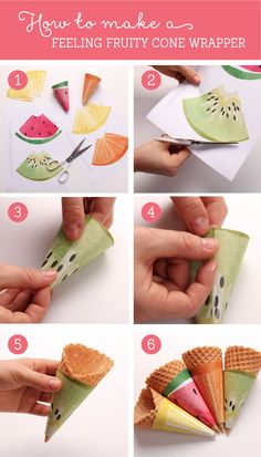 Free Feeling Fruity Printable Ice cream Cone Wrappers ~ Tinyme