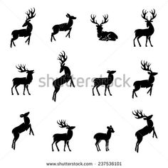 Elk black and white silhouette vector Free vector in Adobe Illustrator ai ( .ai ) format format for free download 1.15MB