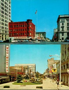 Danville, IL - Downtown Woolworth - 1950's & 1970's postcards.