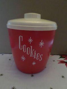Vintage Red Atomic Mid Century Plastic Cookie Jar Canister USA   eBay
