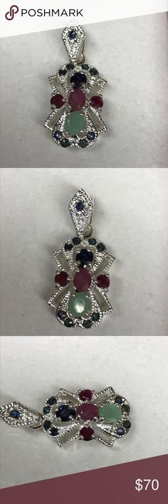 """Multi gemstone necklace Sterling Silver necklace with genuine Rudy sapphire and emerald. The pendant is 1"""" long with 1/2""""bail that also has a gemstone. Comes with an 17"""" Sterling Silver chain Jewelry Necklaces"""