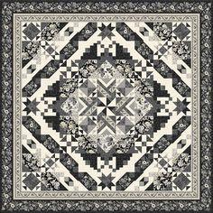 Wilmington Prints Blackwood Cottage Black Diamond Queen Size Quilt Kit | Quilt Kit Star Quilts, Quilt Blocks, Hancocks Of Paducah, Diamond Shop, Queen Size Quilt, Keepsake Quilting, Wilmington Prints, Log Cabin Quilts, Cottage