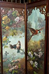 Four Panel Painted Folding Screen at 1stdibs