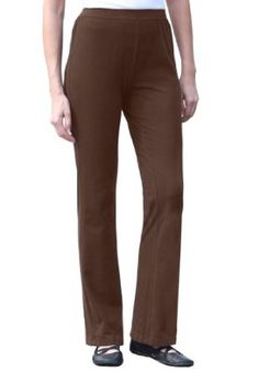 Woman Within Plus Size Pants With Wide-Leg In Stretch Cotton Jersey (Chocolate,S) Woman Within. $12.49