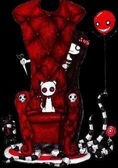 chair with cat - deep red Gothic Drawings, Scary Drawings, Creepy Kids, Creepy Art, Sugar Scull, The Night Is Young, Emo Art, Voodoo Dolls, Cute Dolls
