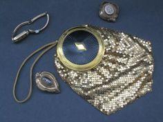 Evans Mesh Compact Purse Wristlet Goldtone Art Deco Prom Wedding Formal Mayfair by Evans