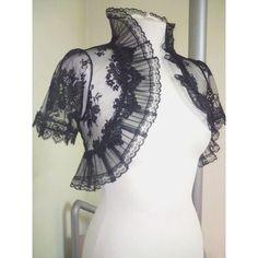 Items similar to VENETIAN black lace bolero jacket wedding shrug... ❤ liked on Polyvore featuring outerwear, jackets, bolero cardigans shrugs, shrug bolero, lace bolero shrug, lace shrug and bolero shrug