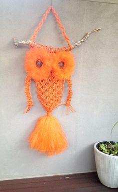 Giant Macrame Owl I made. 8mm nylon rope.