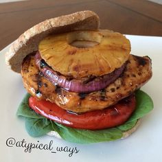 Hawaiian Grilled Chicken Sandwich by @atypical_ways❤️@atypical_ways 1tbsp soy sauce 1tbsp pineapple juice 1/2tbsp ketchup 1tsp coconut palm sugar (could sub brown sugar) 1/8tsp minced garlic 1 slice of pineapple 1-2 red onion slices 1/4-1/2 of red bell pepper (optional) 1 whole wheat sandwich round Few pieces of baby spinach or arugula Fresh ground pepper Mix together soy sauce, pineapple juice, ketchup, sugar & garlic together in a small bowl until sugar is dissolved. Reserve 2 teaspoons of…
