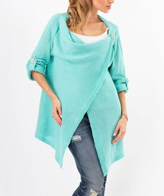 This Mint Roll-Tab Sleeve Cardigan is perfect! #zulilyfinds