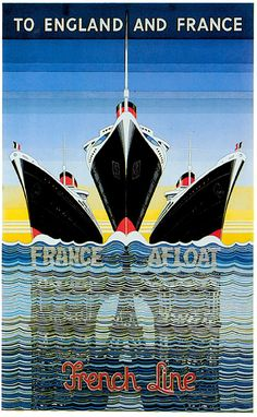 VINTAGE TRAVEL POSTER France French Boat Print, Cruise Ship Poster, Art Deco Ocean Liner Art Reprint