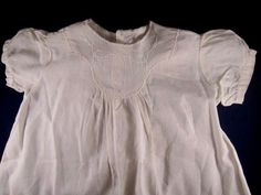 Antique vintage baby dress white cotton homemade embroidered