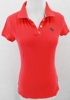 ABERCROMBiE & FiTCH SEXY SUMMER BRiGHT MELON PiNK STRETCH POLO SHiRT tOP Sz S