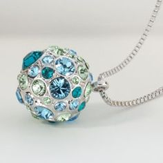 Blue Sky Necklace.  A stunning ball of Blue Zircon, Aquamarine, Chrysolite and Peridot SWAROVSKI ELEMENTS. Lobster clasp; palladium-plated 16˝ to 19˝ chain. $69