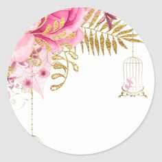 Shop Modern Glam Chic Flowers for all occasions Classic Round Sticker created by celebrationideas. Wallpaper Iphone Disney, Fashion Wall Art, Floral Border, Flower Backgrounds, Flower Frame, Free Paper, Happy Anniversary, Round Stickers, Wedding Cards