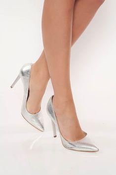 Pantofi stiletto argintii eleganti din piele naturala cu toc inalt Look Fashion, Stiletto Heels, Pumps, Shopping, Shoes, Embroidery, Choux Pastry, Zapatos, Shoes Outlet