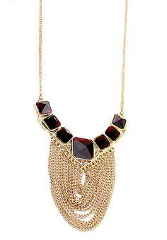 Fashion Zinc Alloy Tassel Spark Ruby Crystal Statement Necklace - Sheinside.com