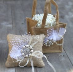 Burlap And Bling Ring Bearer Pillow - Rustic Weddings - Sparkle Romance Wedding - Pearls, Rhinestones, White Feather - Beige Tan Neutral. $29.00, via Etsy.