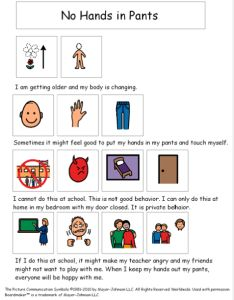 No Hands in Pants Social Story {by theautismhelper.com}