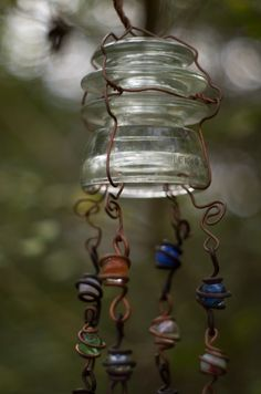 Sun catcher - glass insulator, beads or marbles, wire-wrapping