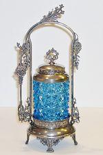 *MERIDEN ~ B. Antique Quadruple Silver Plate, Pickle Castor jar, blue glass, c. 1850's Antique Items, Antique Glass, Sweet Jars, Thing 1, Pickle Jars, China Tea Sets, Tea Cup Set, Cream And Sugar, Cupboards
