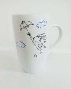 Flying Bunny with Umbrella Hand Painted Porcelain Coffee Tea Mug Kitchen Decor Housewarming gift Cute Mug Creative Mug Birthday Gift Pottery Painting, Ceramic Painting, Diy Painting, Coffee Painting, Painted Coffee Mugs, Hand Painted Mugs, Porcelain Pens, Painted Porcelain, Diy Becher