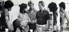 Dick Smith visiting Rick Baker and crew on AMERICAN WEREWOLF IN LONDON.