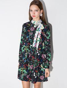 Wildflower Bowtie Babydoll Dress - Floral Neck Tie Dress -