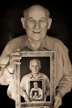 Take a picture of yourself with yourself every 20 years. Or, neat grandpa, son, grandson picture.