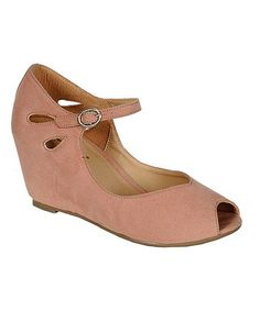 Take a look at this Blush Brazil Peep-Toe Wedge by Breckelle's on #zulily today!