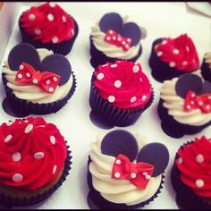 Minnie classic red icing dress with white dots of either sprinkles or fondant.  Use devils food box mix and yellow cupcake wrappers. These are classic Minnie. If you use Pink icing it becomes Mickey Mouse club house version and also use pink wrappers then too.