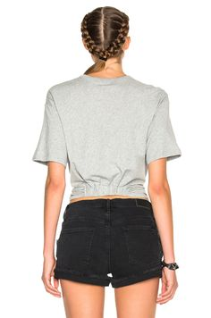 7fd8ce418a1bf Image 4 of T by Alexander Wang Twist Front Short Sleeve Tee in Heather Grey  Grau