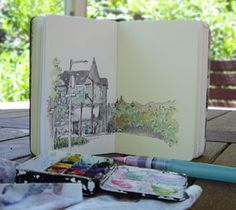 How I Sketch: Part One, Materials.... Artist Martha, Trumpetvine Travels... Many good links on her page. Also, how to rebind a Moleskine, Her thought process of a sketch, and supplies she uses. Good site!