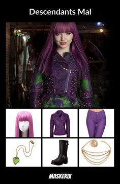 DIY Mal Costume - Real Time - Diet, Exercise, Fitness, Finance You for Healthy articles ideas Maleficent Halloween Costume, Themed Halloween Costumes, Disney Costumes, Evie Costume, Doll Costume, Halloween Dresses For Kids, Mal Descendants Costume, Galaxy Outfit, Dreamworks