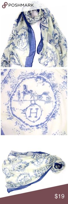 "Abstract Letter H Horse Carriage Scarf B64 ‼️ PRICE FIRM ‼️ 10% DISCOUNT ON 2 OR MORE ITEMS FROM MY CLOSET ‼️   Beautiful scarf.  Perfect for year round wear.  Classic blue & eggshell white. Sure to dress up even the most basic outfit!  100% viscose.  30"" wide, 66"" long.  Please check my closet for many more items including designer clothing, jewelry, shoes, handbags and much more!!! Accessories Scarves & Wraps"