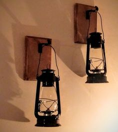 Set Lanterns (2) with Rustic Wood and Hooks, Rustic Wall Sconce, Vintage Railroad Lanterns, Industrial Wall Decor, Wood Sconce Candle Holder