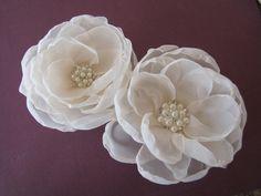 Bridal Fascinator, Bridal Hair Flower Set, Ivory Flowers with Rhinestone Centre Hair Clip, Wedding Flowers, Bridesmaid Flowers, Choose Color. $34.99, via Etsy.