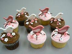 Bird Cupcakes - Click image to find more Food & Drink Pinterest pins