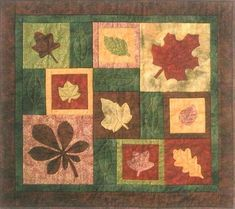 Designs to Share with You quilt pattern - Medley of Leaves - designed by Ursula Riegel  Wall hanging or table runner - that is the question!  Quilt pattern includes detailed instructions for machine satin stitching for the novice quilter.  Finished Sizes: Runner: 17.5 x 41.5 Wall