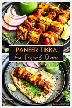 This Paneer Tikka recipe is smokey and spicy with a zingy finish prepared in the Air Fryer, Oven or Grill served as an appetizer or meal. #paneer #airfryerrecipes #indianrecipes