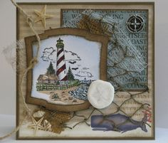 Sand and Sea vky by Vickie Y - Cards and Paper Crafts at Splitcoaststampers  - neat nautical theme card.
