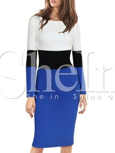 White Blue Long Sleeve Color Block Dress 14.99
