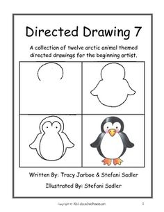 """We have included twelve directed drawings in this """"arctic animal"""" themed volume. (Orca, Puffin, Polar Bear, Seal, Arctic Fox, Penguin, Snowy Owl, Narwhal, Arctic Hare, Beluga, Walrus, Caribou) These drawings have been specifically designed for beginning artists."""