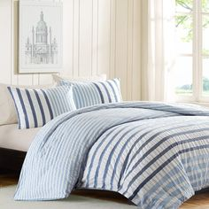 For the boys?  Seersucker Blue and White Stripes Comforter Set