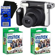 Fujifilm INSTAX 300 WideFormat Instant Photo Film Camera BlackSilver  Fujifilm instax Wide Instant Film 40 sheets  HeroFiber Ultra Gentle Cleaning Cloth ** Click for Special Deals