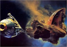 A small collection of Chris Foss's spaceships. He was an illustrator who designed covers for Isaac Asimov novels in the 70s. After working on Alejandro Jorodowsky's doomed film adaptation of Herbert's novel 'Dune', he later went on to work on other sci-fi - Imgur