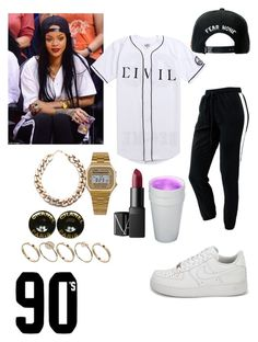 """""""Rihanna"""" by d0llyxo ❤ liked on Polyvore featuring American Apparel, Civil, NIKE, Trukfit, NARS Cosmetics, Chanel and ASOS"""